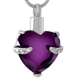 Wholesale glass keepsake - IJD8072 Graceful purple glass heart ashes necklace cremation memorial jewelry keepsakes With Free Shipping