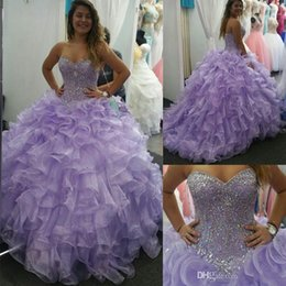 Wholesale Sweetheart Princess Prom Dresses - Sweet 16 Lavender Quinceanera Dresses 2017 Sweetheart Crytal Beads Ball Gown Ruffles Organza Princess 15 Years Girls Prom Party Gowns
