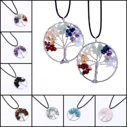 Wholesale Turquoise Black Stone Necklace - 2016 Round Natural Crystal Pendant Living Tree Of Life Turquoise Opal Pink 7 Style Natural Charms Gem Stone Pendant Jewelry L6