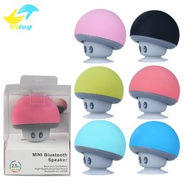 Wholesale Mini Wireless Mushroom Speakers - Cute Mushroom Mini Ornaments Wireless Bluetooth Speaker Sucker Cup Audio Receiver Music Stereo Subwoofer USB For Android IOS PC