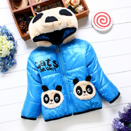 Wholesale Panda Coats - 5 colors New 2017 Autumn & Winter Children Panda Hoodies Jacket & Coat Baby Girls Clothes Kids Toddle Outerwear Warm Coat Age 1-4T