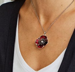 Wholesale collections link - White Gold Tone Ruby Red Enamel Black Crystal Lest We forget Poppy Collection Pendant Necklace Jewelry