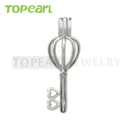 Wholesale 925 Locket Heart - SWP14 Teboer Jewelry 5pcs Key Heart Cage 925 Sterling Silver Love Wish Pearl Pendant Locket Cage