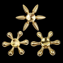 Wholesale Brass Puzzles - 2017 Copper Bullet Bowling Ball Hexagon Fidget Hand Spinner With Six Arm Torqbar Brass Puzzle Finger Toy EDC Fidget Handspinner DHL OTH456