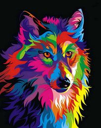 Wholesale Pictures Office Walls - Home Office Decoration Living Room Art Wall Decor HD Prints Animal Color Wolf Oil Painting Pictures Printed On Canvas