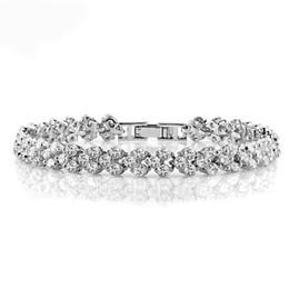 Wholesale White Austrian Crystals Bracelet - Luxury Clear AAA Zircon Chain Link Bracelet For Women Wedding Bridal Jewelry Elegant Shining Austrian Crystal Roman Bracelet Jewelry