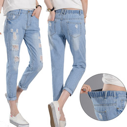 Wholesale New Style Trousers For Women - New Style Women Summer Denim Hole Pants Casual Ripped BF Trousers For Ladies Blue Ripped Mid Elastic Waist Skinny Denim Calf Length Jeans