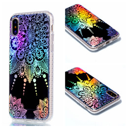Wholesale Iphone Flower Back Case - For iphone X 5.8 inchTpu Electroplated Colorful Mandala Flower Case Skin Back cover Cellphone Phone cases 8 8G 7 plus Samsung S7 edge S8