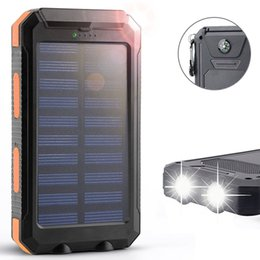 Wholesale Solar Battery Panel External - Solar Power Bank 10000mAh External Backup Battery Pack Dual USB Solar Panel Charger with 2LED Light Carabiner Compass Portable Charger