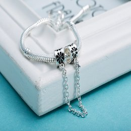 Wholesale Sterling Silver Bracelet Safety Chains - Wholesale Flower Safety Chain 925 Sterling Silver Beads European Charms Fit Necklace Bracelet Snake Chain DIY Jewelry