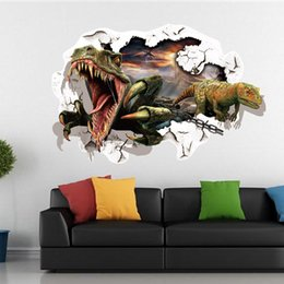 Wholesale Dinosaurs Wall Sticker - Hot 3 D Wall Stickers Wholesale Creative Bedroom of Children Room Decorate Metope Dinosaur Sticker Wall Stickers 100pcs IB126