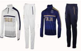 Wholesale Men S Blue Suits - 2017 2018 Survetement football Italy tracksuit italia training suit kits Soccer Chandal italian training shinny tight pants sweater shirt