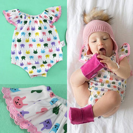 Wholesale Baby Designers Clothing Brand - 2017 children's designer Fashion Rompers Jumpsuits Baby Kids Clothing Rabbit printed summer cute girl clothes 1388