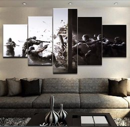 "Wholesale Large Abstract Wall Paintings - LARGE 60""x32"" 5 Panels Rainbow Six Siege Gaming Poster Canvas Prints Wall Art for Living Room Bedroom Home D cor (No Frame)"