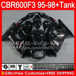 Wholesale pink abs - gloss black 8 Gifts 23 Colors For HONDA CBR600F3 95 96 97 98 CBR600RR FS 2HM10 CBR600 F3 600F3 CBR 600 F3 1995 1996 1997 1998 black Fairing