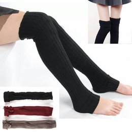 Wholesale Warm Thigh High Stockings - New Winter Socks Women High Quality Knitted wool Stocks Knee Socks Thick Warm Socks Leg Warmers Woman Thigh High Stocking #008