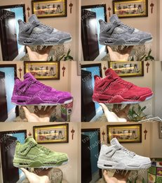 Wholesale Mens Shoes Purple Color - 2017 With Box Mens New Retro KAWS x Air 4 Red Green Grey Purple Color Glow Suede Basketball Shoes Sneakers Outdoor Athletics Shoes