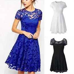 Wholesale Plus Size Clothing Wedding Party - Plus Size S-5XL Women Round Neck Short Sleeve Pleated Lace Slim Sexy Dress Ladies Fashion Dresses Wedding Party Wear Clothing