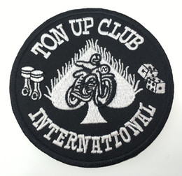 Wholesale Clothes Brand Iron Patches - Brand New Ton UP Club International Embroidered Patch Motorcycle Patch Iron On Clothing Wholesale Acceptable Free Shipping