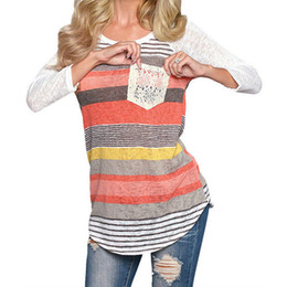 Wholesale Tee Shirt Crochet - Wholesale-Hot 2016 Fashion Tees Womens Crochet Blusas Casual Packets Long Sleeve Tops Shirt Ladies Loose T-shirt Cotton Shirts Blusas W5