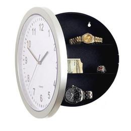 caisses stash en gros Promotion En gros-Moderne Design Horloge Mécanique Coffre De Rangement Sécurisé Horloge En Plastique Bijoux Argent Caché Secret Cachette Coffre-fort Mur Horloge De Bureau