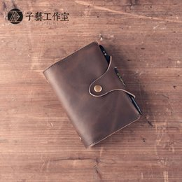 Wholesale A7 Notebook - Wholesale- High Quality Retro Handmade Leather A7 Business Traveler Notebook New Arrival Brown Mini Pocket Daily Memos Passports Notepad WZ