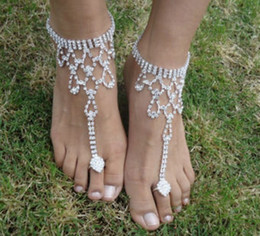 Wholesale Silver Anklets Women Barefoot Sandals - Beach Wedding Bridal Anklets Silver Tone Rhinestone Barefoot Sandals Bracelets Foot Chains Bracelets Chains Womens Jewelry