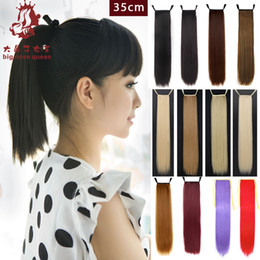 Wholesale Cosplay Perucas - Wholesale- 35cm Women Short Straight Ponytail Ribbon Synthetic Hairpiece Natural Hair Braiding Anime Cosplay perucas Styling Tools 12 Color