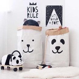 Wholesale Bags For Children Clothes - Cartoon Large Capacity Laundry Organizer Heavy Kraft Paper Children Room Organizer Bag Household Sundries Laundry Bag For Baby Toy Clothing