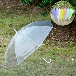 Wholesale Clear Plastic Umbrellas Wholesale - Transparent Clear EVC Umbrella for Beach Outdoor Sun Rain Fashion Dance Performance Long Handle Umbrellas 6 Colors Wedding Umbrella
