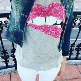 Wholesale Sequin Tops For Women - Wholesale- Hot New Fashion T-shirts for women summer short sleeve sequin red lips tshirt ladies fitness harajuku t shirt women top tees