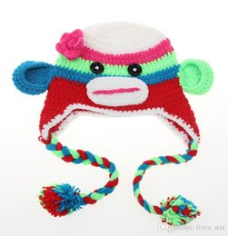 Wholesale Handmade Owl Monkey Crocheted Baby - Fashon 2017 Baby Toddler Owl Crochet Knit Woolly Warm EarFlap Hat Baby Handmade Cartoon Cap Childrens Monkey 27Color 6M-3years