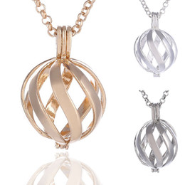 Wholesale Bell Pendant Silver - New Fashion Spiral Pattern Copper Metal Ball Cage Locket Box Pendant Necklace with Angel Music Bell Beads Chain