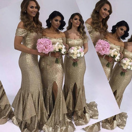 becf90f54b Stylish Golden Mermaid Bridesmaid Dress Sexy Off Shoulder Short Sleeves  Side Split Formal Wedding Party Dress Charming Teired Maid Of Honor