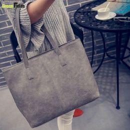 Wholesale Large Gray Leather Handbag - Wholesale-Fashion Women Bag Totes Women PU Leather Handbag Brief Shoulder Bags Large capacity luxury handbags women Gray Black bags XA169B