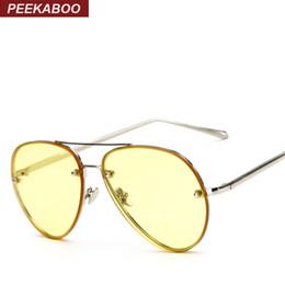 Wholesale Sunglasses Cheap Pilot - Wholesale- Peekaboo cheap fashion ocean sunglasses tinted lens yellow pink metal frame sunglasses women men UV400 gafas de sol