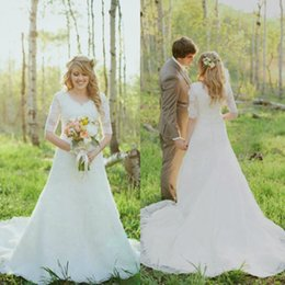 Wholesale Sweetheart Transparent Wedding Dress - New Spring Lace Wedding Dresses A Line Plus Size Half Sleeve Garden Long Princess Bridal Gowns Modern Transparent Hot Sale Fashion