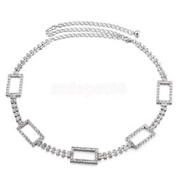 Wholesale Diamante Dresses - Wholesale- Women Ladies Fashion Metal Crystal Waist Chain Belt Wedding Dress Waistband Bridal Diamante Rhinestone Belt 111cm