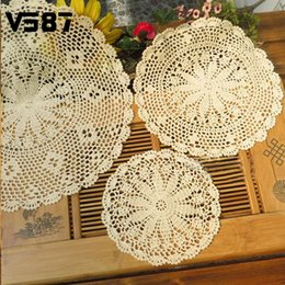 Wholesale Crochet Cup Placemat - Wholesale-25-50cm Vintage Pastoral Style Flower Placemat Table Mat Handmade Cotton Round Doily Cup Pads Doilies Crochet Lace Knit Coaster
