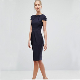 Wholesale Office Wear Fashion For Ladies - Formal Office Dresses for Women Business Summer 2017 Fashion Short Sleeve Zipper Knee Length Ladies Work Pencil Dress Plus size