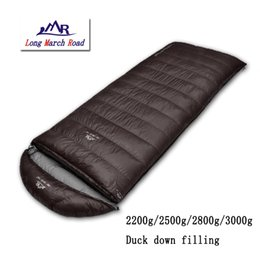 Wholesale Mummy Sleeping Bag Duck Down - Wholesale- LMR outdoor ultralight falling 2200g 2500g 2800g 3000g duck down can be spliced envelope winter camping sleeping bag