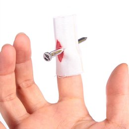 Wholesale Joke Nail - Wholesale-Hot 5Pcs Whole Person Products Wear Blood Fake Finger Nail Party Bar Prop Joke Tricky Toys Novelty Gag Halloween Gift 2016