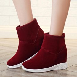 Wholesale Green Wedge Boots Women - Women All Matching Winter Snow Boots Street Style Women Shoes Wedge Plush Height Increased Slip on Short Ankle Boots Size 34-39