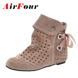Wholesale Flocking Fabrics - Wholesale-Airfour Women Summer Boots Big Size 34-43 New Fashion Hidden Wedges Cutouts Casual Wedding Shoes Womens Ankle Boots Black Red