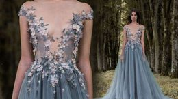 Wholesale Women Jersey Evening Dress - 2017 Paolo Sebastian Lace Prom Dresses Sheer Plunging Neckline Appliqued Party Gowns Sweep Train Tulle Beads Evening Wear For Women Dress