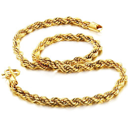 Wholesale 18k Gold Mens Rope Chain - Hot Sale Fashion 18K Gold Plated Twrist Rope Chain Necklace Gold Tone Hip Hop Mens Jewelry Gift