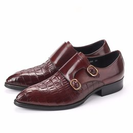 Wholesale Double Monk Strap - new mens dress shoes genuine leather comfortable double monk strap luxury wedding shoes