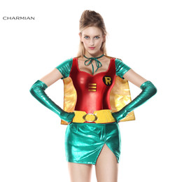 Wholesale Sexy Super Man Cosplay - Charmian Halloween Costume for Women Sexy Robin Super Hero Anime Cosplay Carnival Party Fantasias Feminina Para Festa
