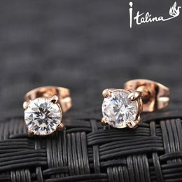 Wholesale Italina Earrings - Italina Rigant Real Rose Gold Plated Stud AAA Zirconia Earrings With Environmental Alloy#RG81270
