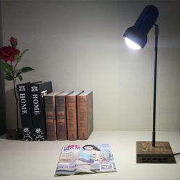 Wholesale Lamp Base Metal - Vintage Led Table Lamp Desk Reading Working Lighting with wooden base black metal lampshade for home indoor office study bedroom Livimg Room